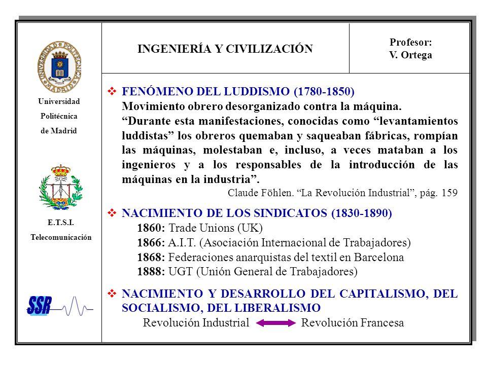INGENIERÍA Y CIVILIZACIÓN Universidad Politécnica de Madrid E.T.S.I. Telecomunicación Profesor: V. Ortega FENÓMENO DEL LUDDISMO (1780-1850) Movimiento