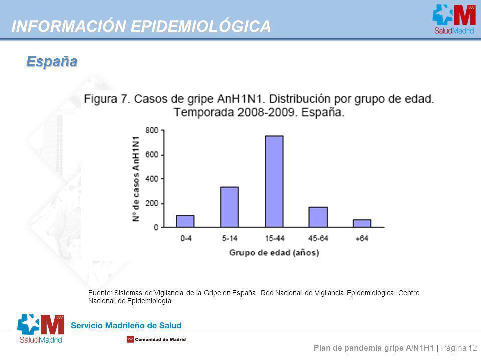 Plan de pandemia gripe A/N1H1 | Página 12 INFORMACIÓN EPIDEMIOLÓGICA Fuente: Sistemas de Vigilancia de la Gripe en España. Red Nacional de Vigilancia