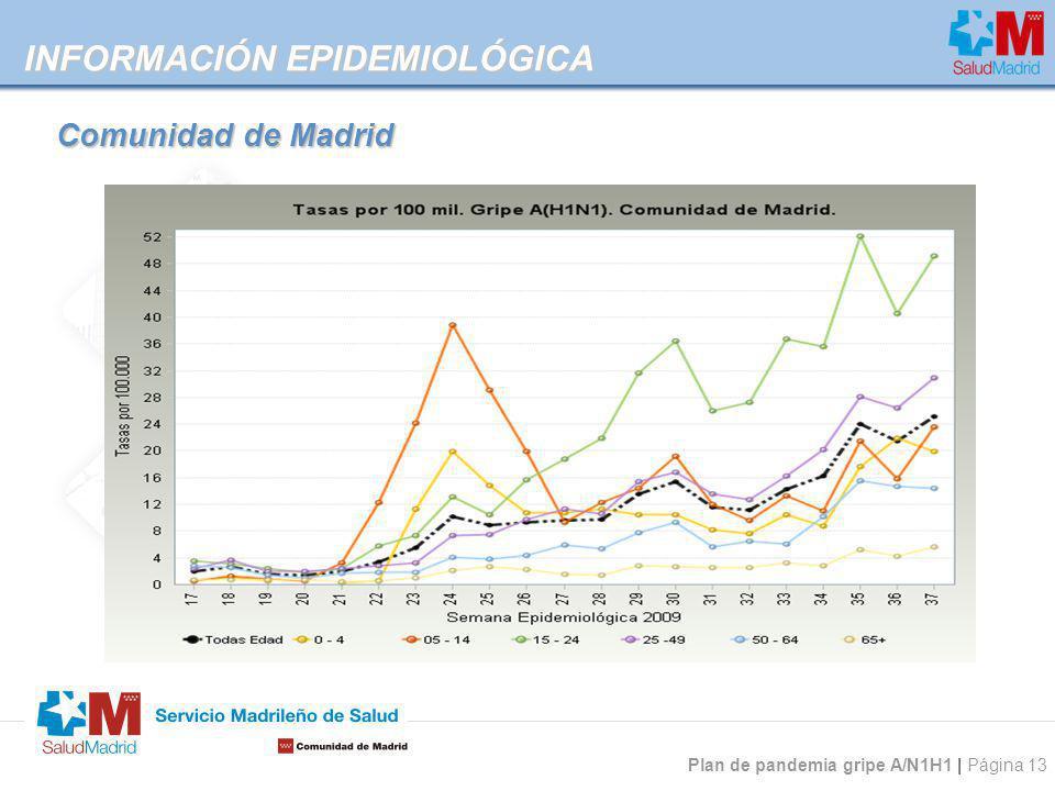 Plan de pandemia gripe A/N1H1 | Página 13 INFORMACIÓN EPIDEMIOLÓGICA Comunidad de Madrid