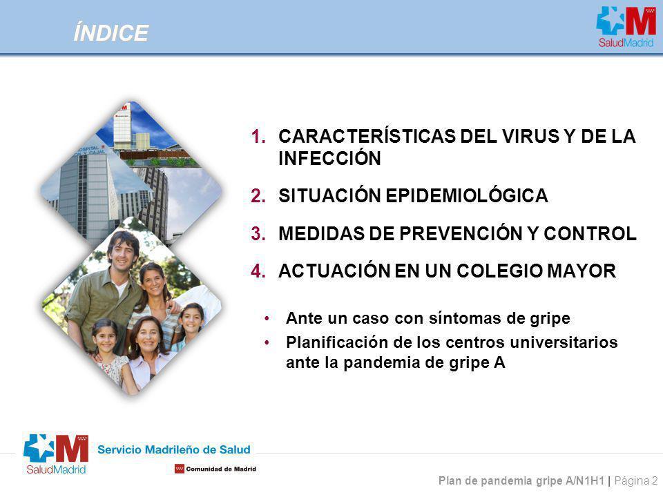 Plan de pandemia gripe A/N1H1 | Página 2 ÍNDICE 1.CARACTERÍSTICAS DEL VIRUS Y DE LA INFECCIÓN 2.SITUACIÓN EPIDEMIOLÓGICA 3.MEDIDAS DE PREVENCIÓN Y CON