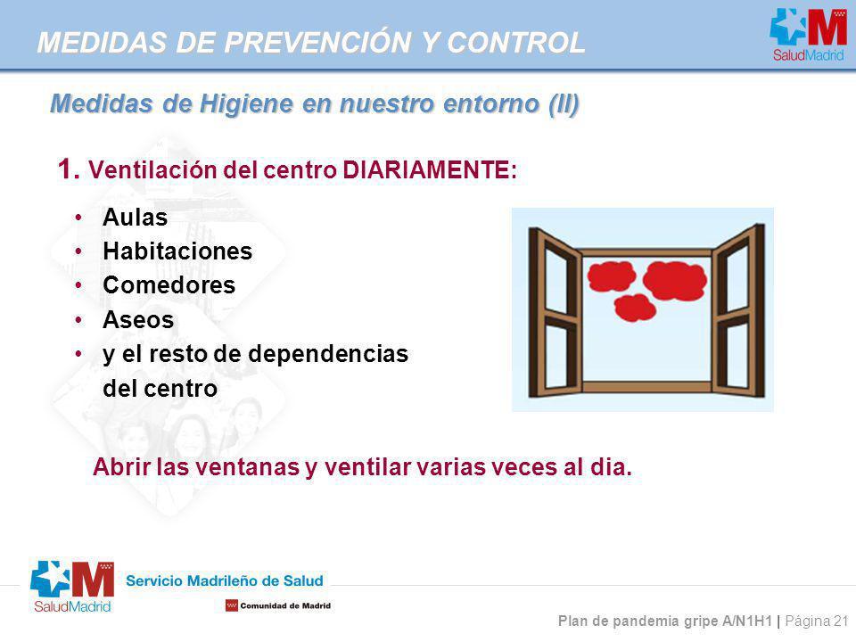 Plan de pandemia gripe A/N1H1 | Página 21 Medidas de Higiene en nuestro entorno (II) 1. Ventilación del centro DIARIAMENTE: Aulas Habitaciones Comedor