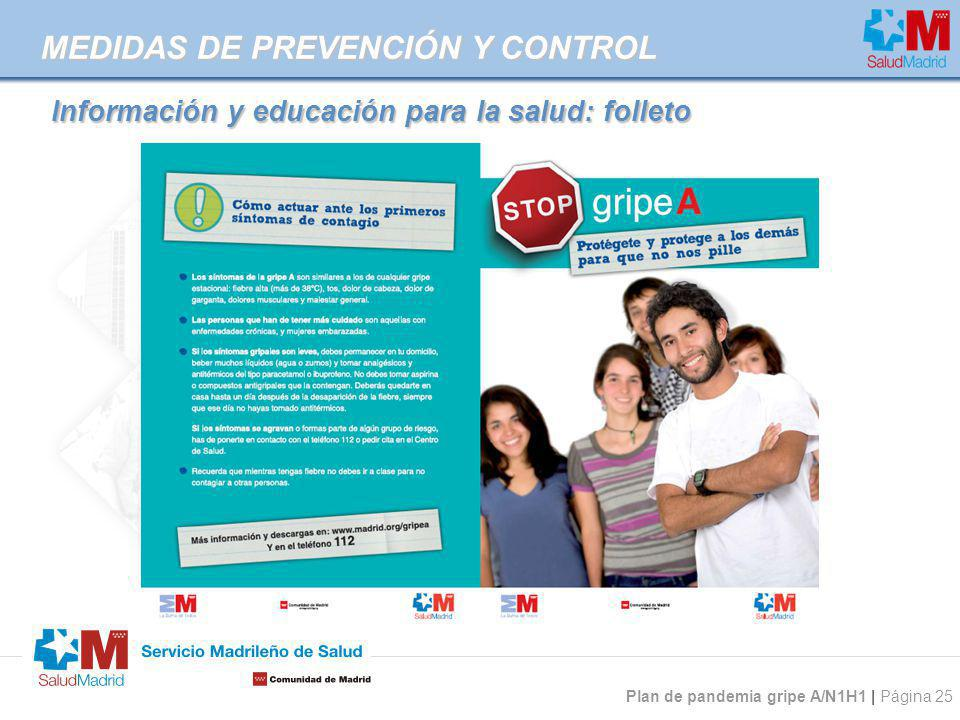 Plan de pandemia gripe A/N1H1 | Página 25 Información y educación para la salud: folleto MEDIDAS DE PREVENCIÓN Y CONTROL