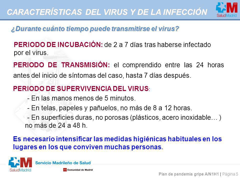 Plan de pandemia gripe A/N1H1 | Página 5 ¿Durante cuánto tiempo puede transmitirse el virus? PERIODO DE SUPERVIVENCIA DEL VIRUS : - En las manos menos