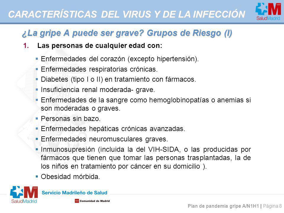 Plan de pandemia gripe A/N1H1 | Página 8 ¿La gripe A puede ser grave? Grupos de Riesgo (I) Enfermedades del corazón (excepto hipertensión). Enfermedad