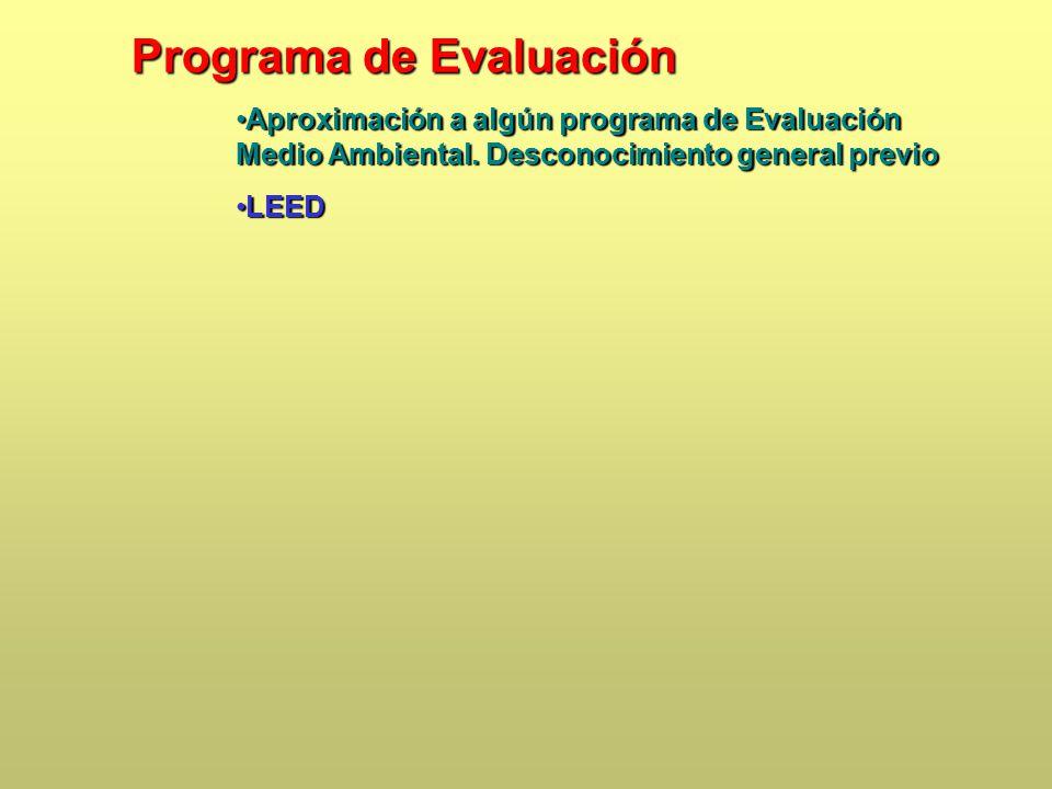 Programa de Evaluación Aproximación a algún programa de Evaluación Medio Ambiental.