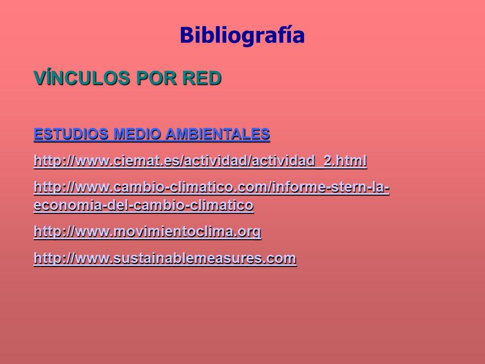 VÍNCULOS POR RED ESTUDIOS MEDIO AMBIENTALES http://www.ciemat.es/actividad/actividad_2.html http://www.cambio-climatico.com/informe-stern-la- economia-del-cambio-climatico http://www.cambio-climatico.com/informe-stern-la- economia-del-cambio-climatico http://www.movimientoclima.org http://www.sustainablemeasures.com