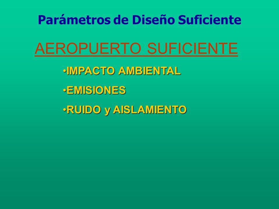 AEROPUERTO SUFICIENTE IMPACTO AMBIENTALIMPACTO AMBIENTAL EMISIONESEMISIONES RUIDO y AISLAMIENTORUIDO y AISLAMIENTO Parámetros de Diseño Suficiente