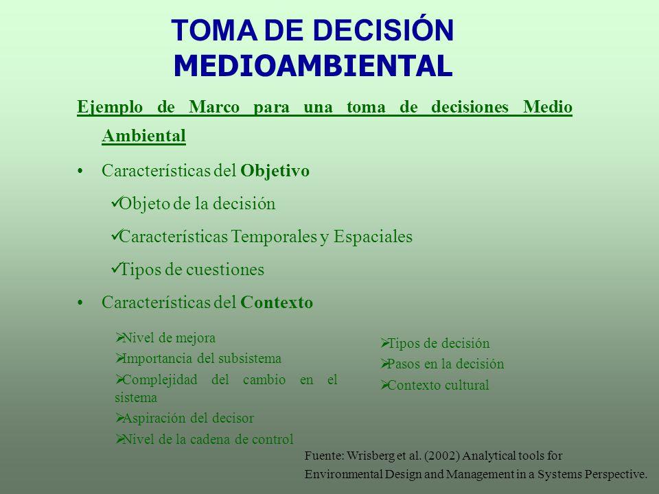 TOMA DE DECISIÓN MEDIOAMBIENTAL Ejemplo de Marco para una toma de decisiones Medio Ambiental Características del Objetivo Objeto de la decisión Caract