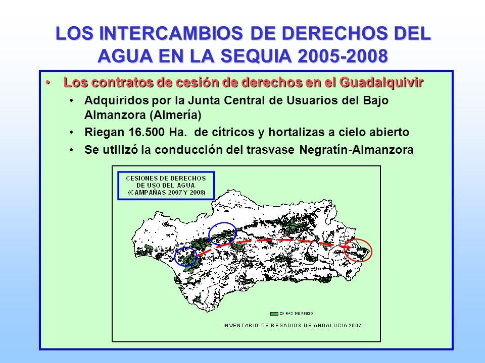 LOS INTERCAMBIOS DE DERECHOS DEL AGUA EN LA SEQUIA 2005-2008 Los contratos de cesión de derechos en el GuadalquivirLos contratos de cesión de derechos