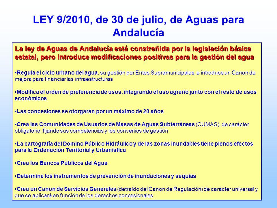 LEY 9/2010, de 30 de julio, de Aguas para Andalucía La ley de Aguas de Andalucía está constreñida por la legislación básica estatal, pero introduce mo