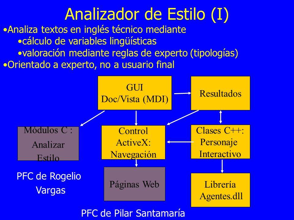 Analizador de Estilo (I) Analiza textos en inglés técnico mediante cálculo de variables lingüísticas valoración mediante reglas de experto (tipologías
