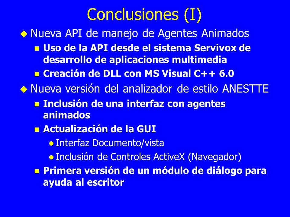 Conclusiones (I) Nueva API de manejo de Agentes Animados Uso de la API desde el sistema Servivox de desarrollo de aplicaciones multimedia Creación de