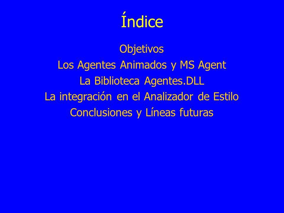 Índice Objetivos Los Agentes Animados y MS Agent La Biblioteca Agentes.DLL La integración en el Analizador de Estilo Conclusiones y Líneas futuras