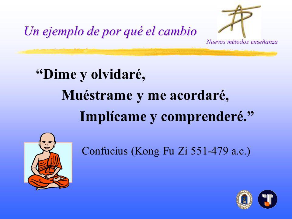 Nuevos métodos enseñanza Un ejemplo de por qué el cambio Dime y olvidaré, Muéstrame y me acordaré, Implícame y comprenderé. Confucius (Kong Fu Zi 551-