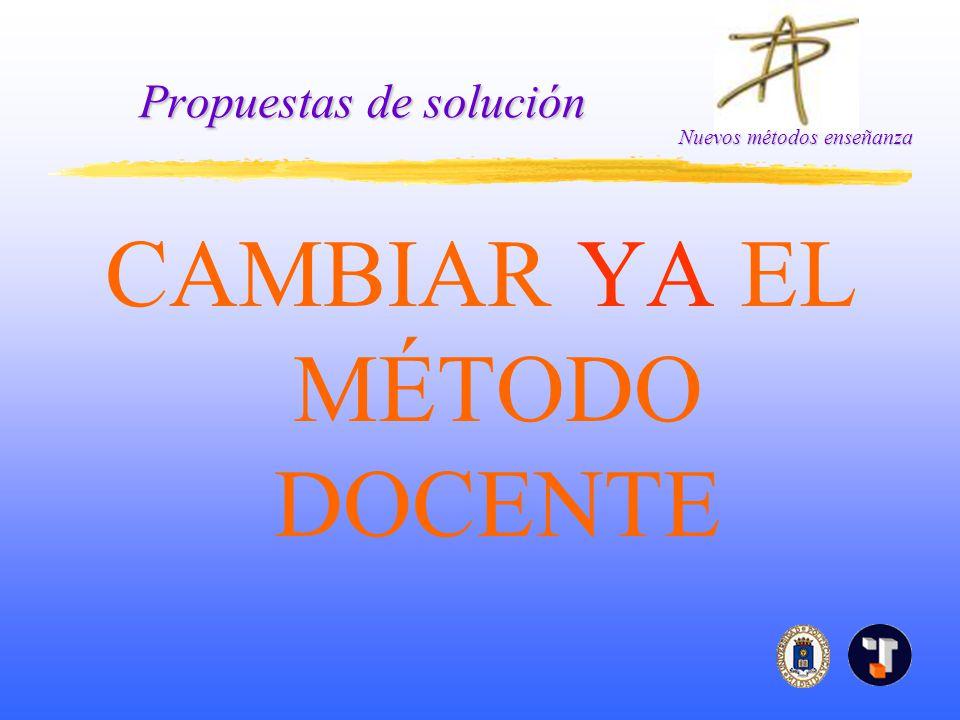 Nuevos métodos enseñanza Propuestas de solución CAMBIAR YA EL MÉTODO DOCENTE