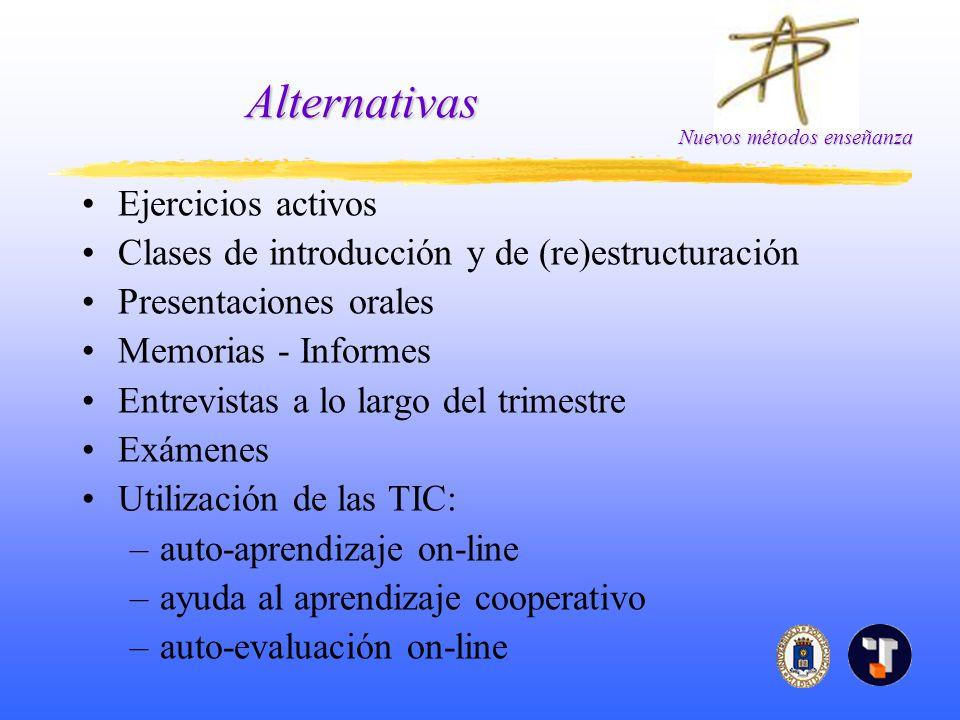 Nuevos métodos enseñanza Alternativas Ejercicios activos Clases de introducción y de (re)estructuración Presentaciones orales Memorias - Informes Entr