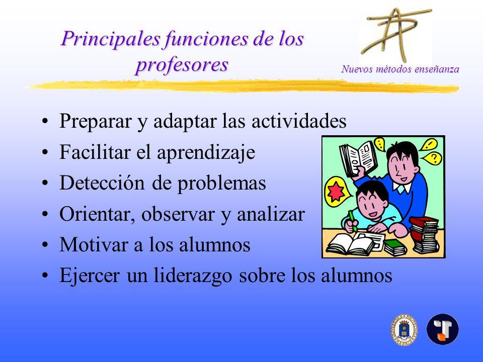 Nuevos métodos enseñanza Principales funciones de los profesores Preparar y adaptar las actividades Facilitar el aprendizaje Detección de problemas Or
