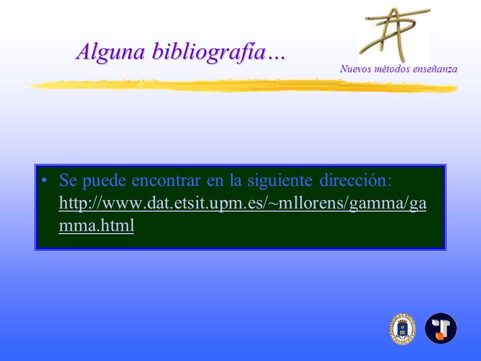 Nuevos métodos enseñanza Alguna bibliografía… Se puede encontrar en la siguiente dirección: http://www.dat.etsit.upm.es/~mllorens/gamma/ga mma.html http://www.dat.etsit.upm.es/~mllorens/gamma/ga mma.html