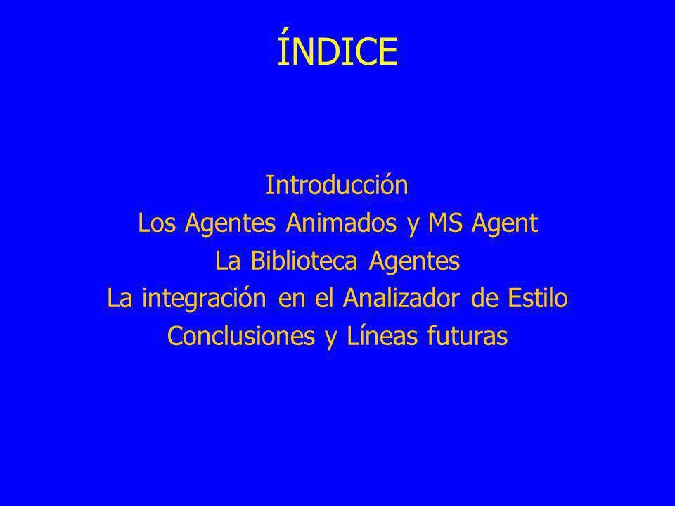 ÍNDICE Introducción Los Agentes Animados y MS Agent La Biblioteca Agentes La integración en el Analizador de Estilo Conclusiones y Líneas futuras