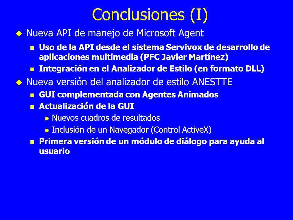 Conclusiones (I) Nueva API de manejo de Microsoft Agent Uso de la API desde el sistema Servivox de desarrollo de aplicaciones multimedia (PFC Javier Martínez) Integración en el Analizador de Estilo (en formato DLL) Nueva versión del analizador de estilo ANESTTE GUI complementada con Agentes Animados Actualización de la GUI Nuevos cuadros de resultados Inclusión de un Navegador (Control ActiveX) Primera versión de un módulo de diálogo para ayuda al usuario