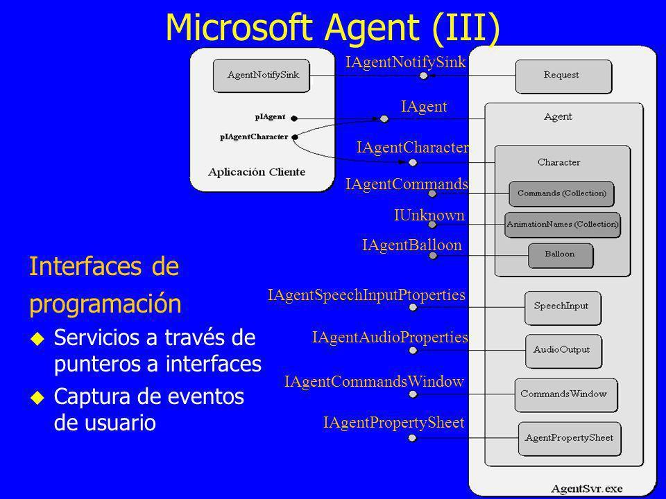 IAgentNotifySink IAgent IAgentCharacter IAgentCommands IUnknown IAgentBalloon IAgentSpeechInputPtoperties IAgentAudioProperties IAgentCommandsWindow IAgentPropertySheet Microsoft Agent (III) Interfaces de programación Servicios a través de punteros a interfaces Captura de eventos de usuario
