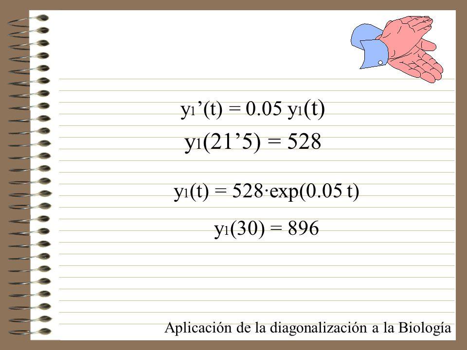 y 1 (t) = 0.05 y 1 (t) y 1 (215) = 528 Aplicación de la diagonalización a la Biología y 1 (t) = 528·exp(0.05 t) y 1 (30) = 896