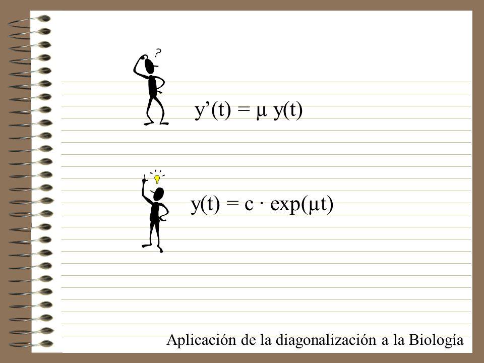 y(t) = c · exp(µt) y(t) = µ y(t) Aplicación de la diagonalización a la Biología