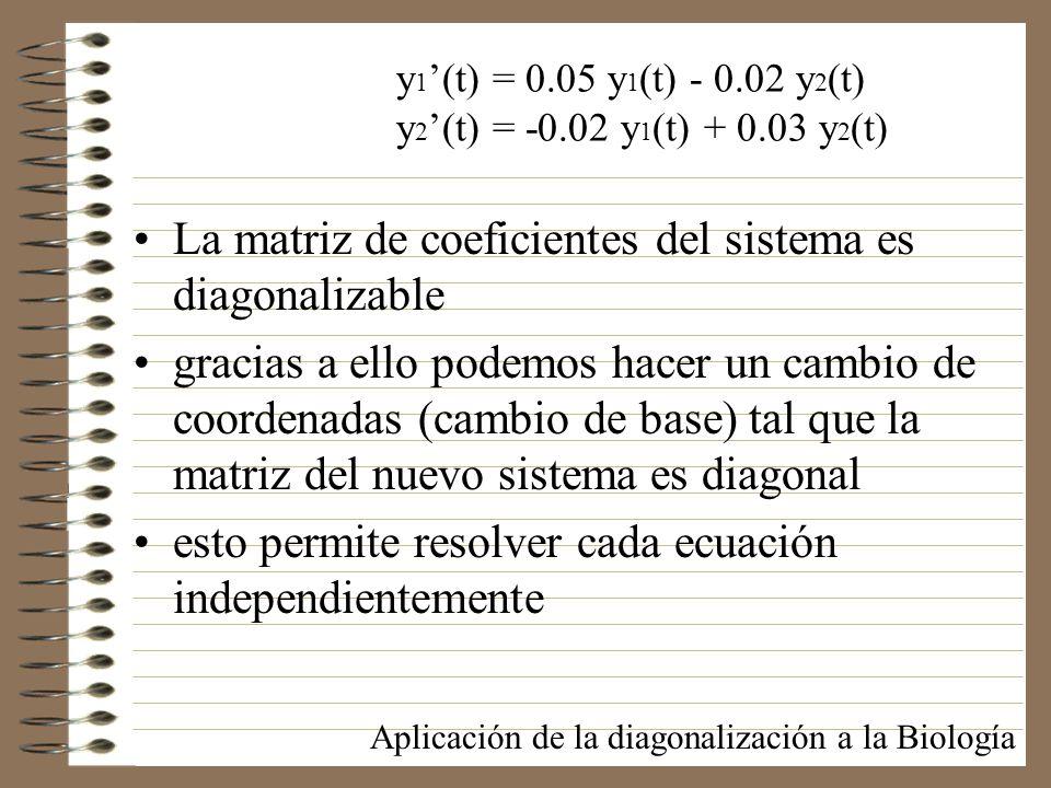 La matriz de coeficientes del sistema es diagonalizable gracias a ello podemos hacer un cambio de coordenadas (cambio de base) tal que la matriz del n