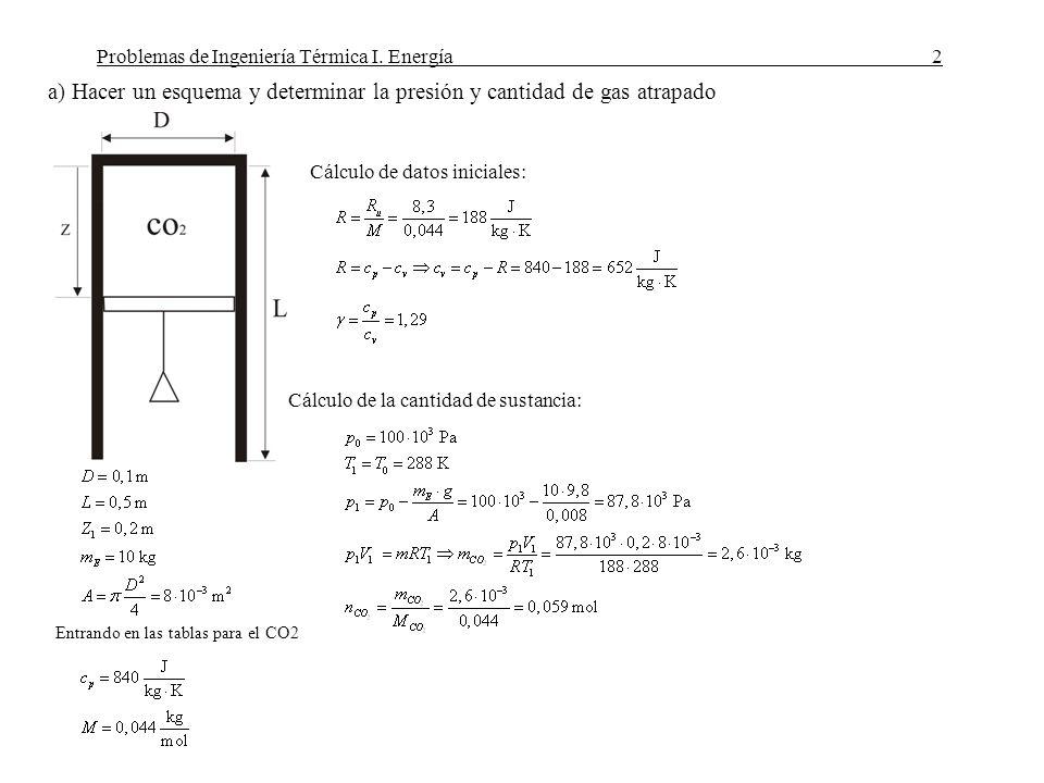 Problemas de Ingeniería Térmica I. Energía2 a) Hacer un esquema y determinar la presión y cantidad de gas atrapado Datos Entrando en las tablas para e