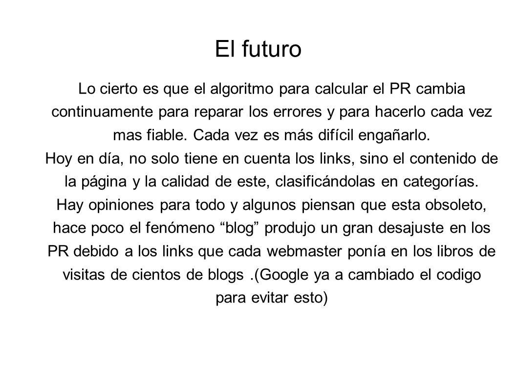 El futuro Lo cierto es que el algoritmo para calcular el PR cambia continuamente para reparar los errores y para hacerlo cada vez mas fiable.