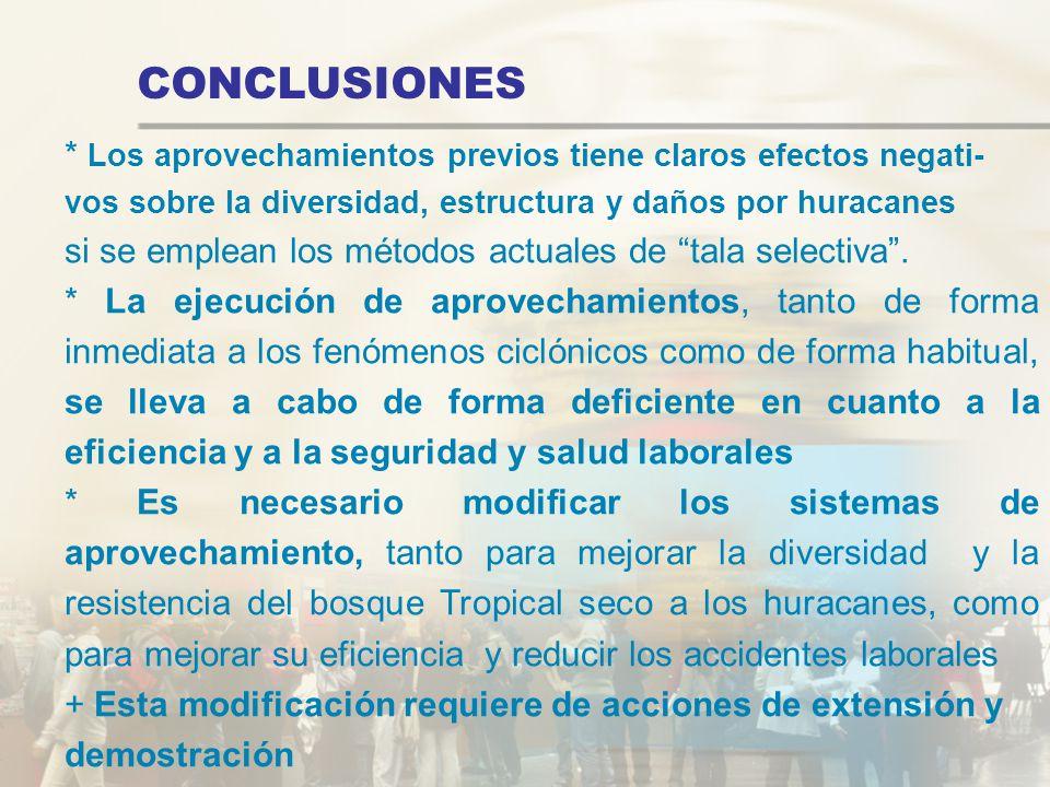 CONCLUSIONES * Los aprovechamientos previos tiene claros efectos negati- vos sobre la diversidad, estructura y daños por huracanes si se emplean los m