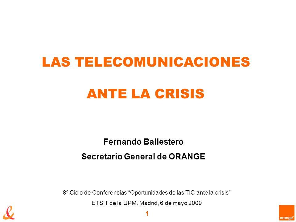 1 LAS TELECOMUNICACIONES ANTE LA CRISIS 8º Ciclo de Conferencias Oportunidades de las TIC ante la crisis ETSIT de la UPM.