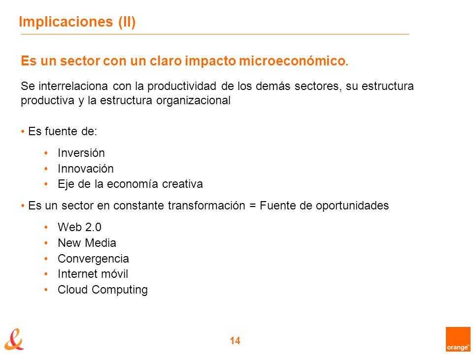 14 Implicaciones (II) Es un sector con un claro impacto microeconómico.