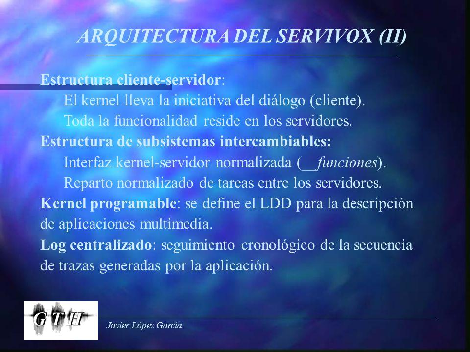Javier López García ARQUITECTURA DEL SERVIVOX (II) Estructura cliente-servidor: El kernel lleva la iniciativa del diálogo (cliente). Toda la funcional