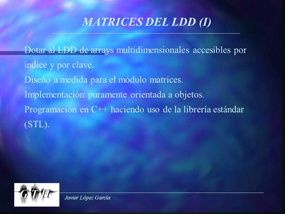 Javier López García MATRICES DEL LDD (I) Dotar al LDD de arrays multidimensionales accesibles por índice y por clave. Diseño a medida para el módulo m