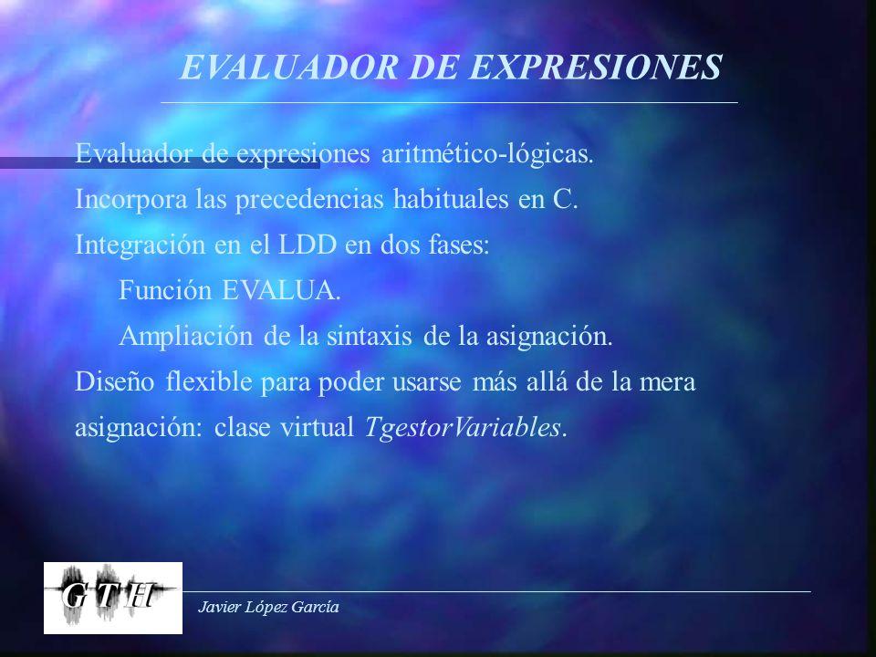Javier López García EVALUADOR DE EXPRESIONES Evaluador de expresiones aritmético-lógicas. Incorpora las precedencias habituales en C. Integración en e