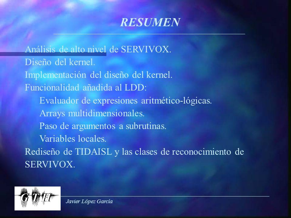 Javier López García RESUMEN Análisis de alto nivel de SERVIVOX. Diseño del kernel. Implementación del diseño del kernel. Funcionalidad añadida al LDD: