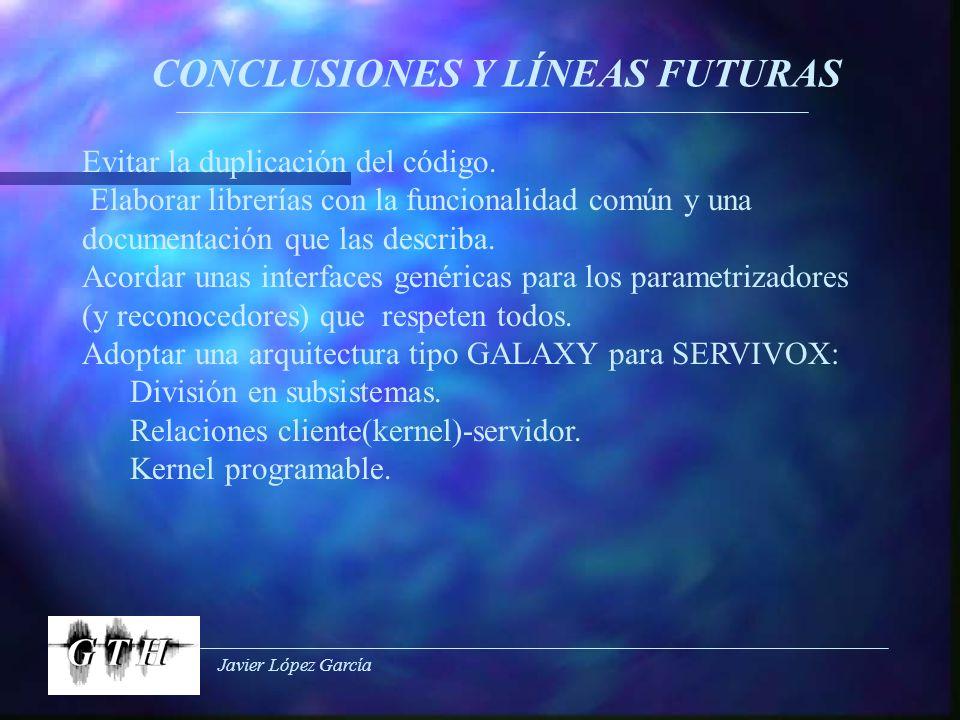 Javier López García CONCLUSIONES Y LÍNEAS FUTURAS Evitar la duplicación del código. Elaborar librerías con la funcionalidad común y una documentación