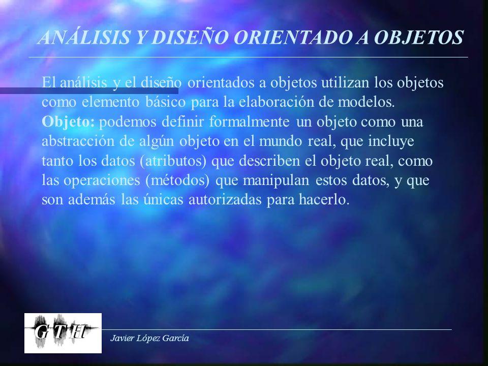 Javier López García ANÁLISIS Y DISEÑO ORIENTADO A OBJETOS El análisis y el diseño orientados a objetos utilizan los objetos como elemento básico para