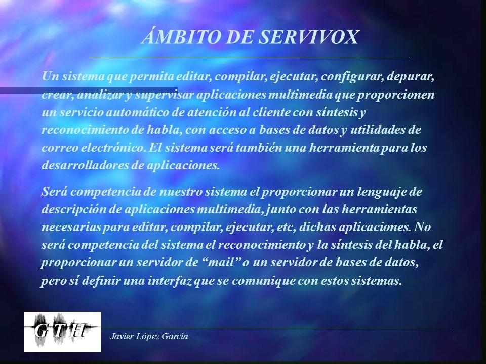 Javier López García ÁMBITO DE SERVIVOX Un sistema que permita editar, compilar, ejecutar, configurar, depurar, crear, analizar y supervisar aplicacion