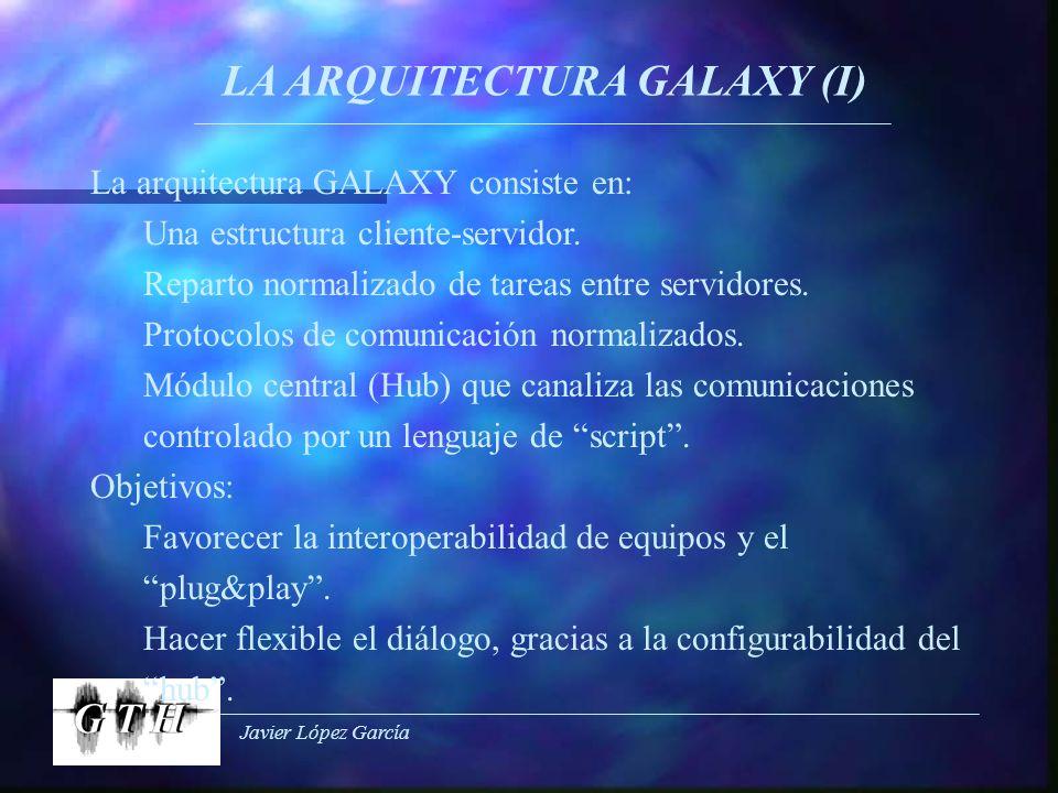 Javier López García LA ARQUITECTURA GALAXY (I) La arquitectura GALAXY consiste en: Una estructura cliente-servidor. Reparto normalizado de tareas entr