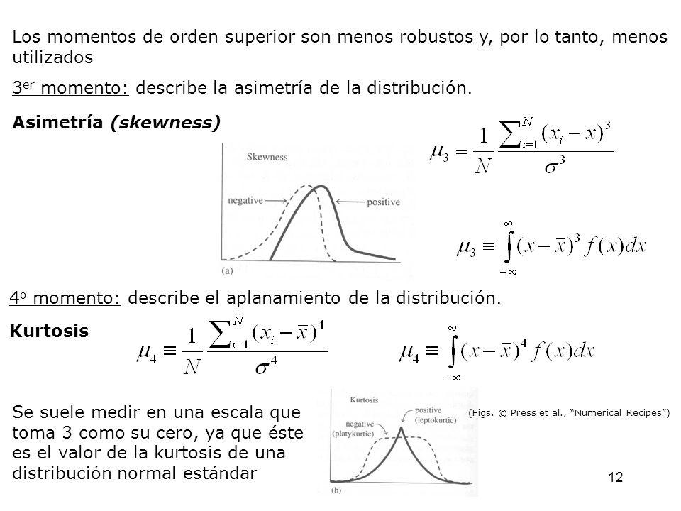 12 Los momentos de orden superior son menos robustos y, por lo tanto, menos utilizados 3 er momento: describe la asimetría de la distribución.