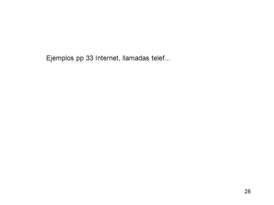26 Ejemplos pp 33 Internet, llamadas telef...