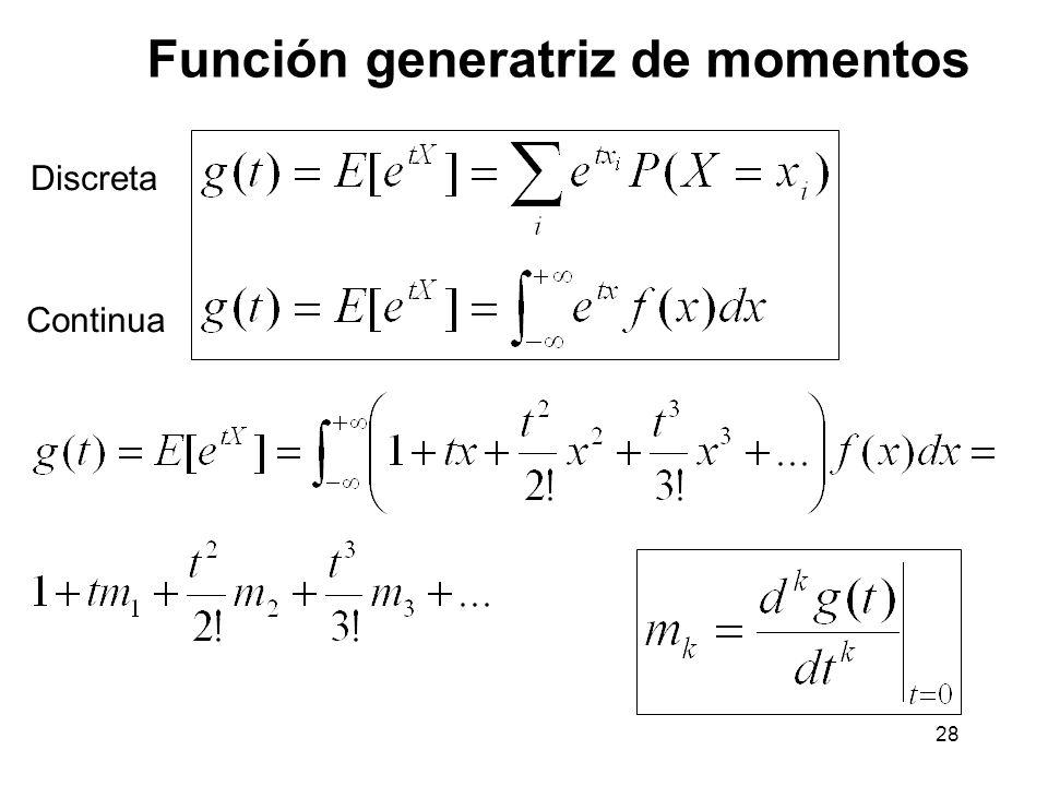 28 Función generatriz de momentos Discreta Continua