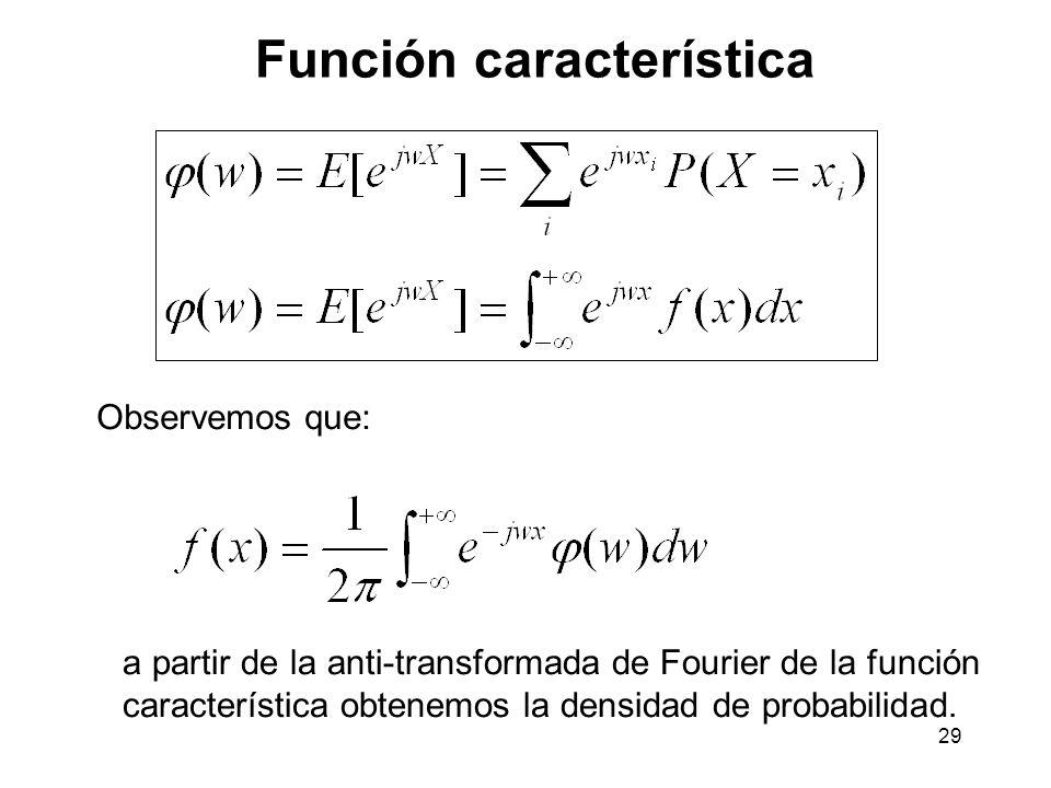 29 Función característica Observemos que: a partir de la anti-transformada de Fourier de la función característica obtenemos la densidad de probabilidad.