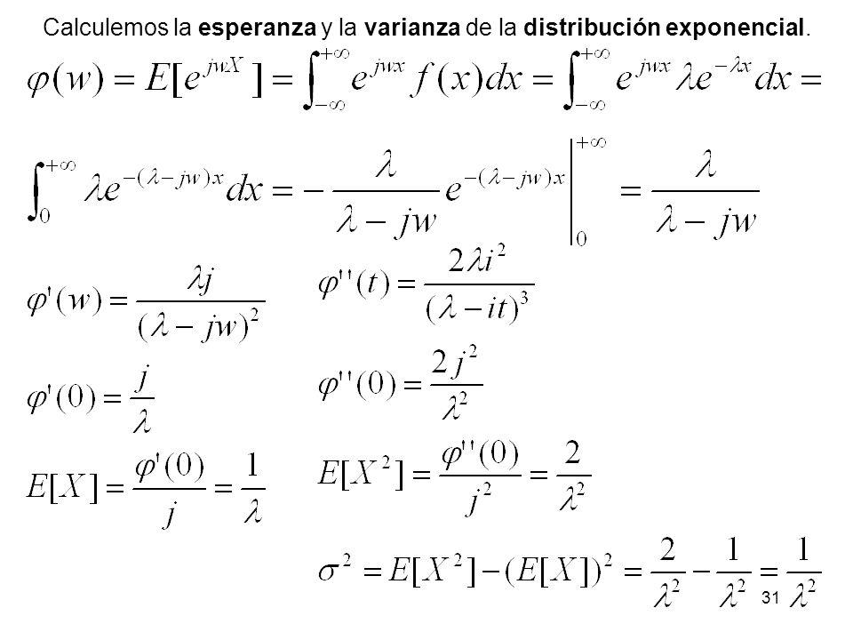 31 Calculemos la esperanza y la varianza de la distribución exponencial.