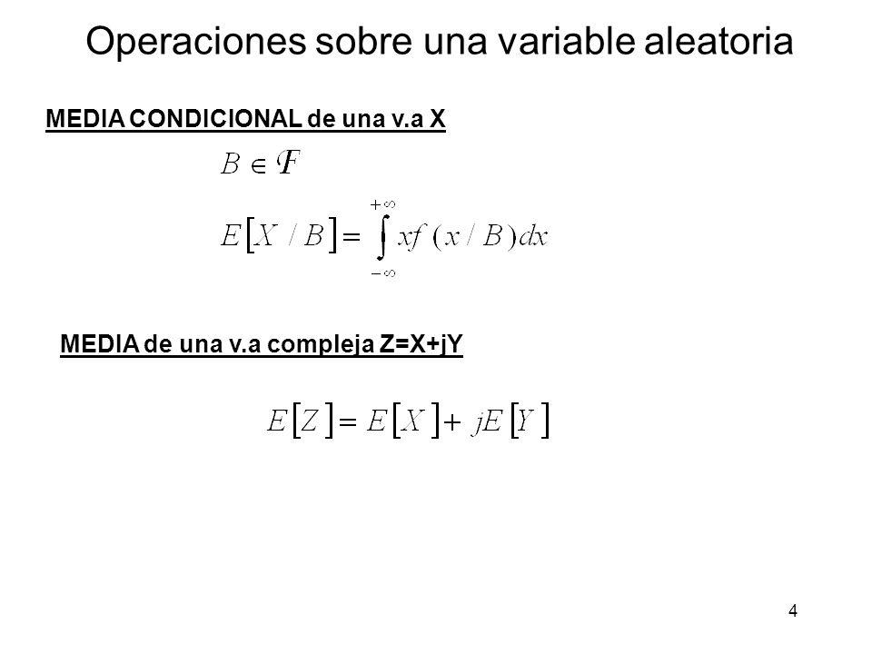 4 Operaciones sobre una variable aleatoria MEDIA CONDICIONAL de una v.a X MEDIA de una v.a compleja Z=X+jY