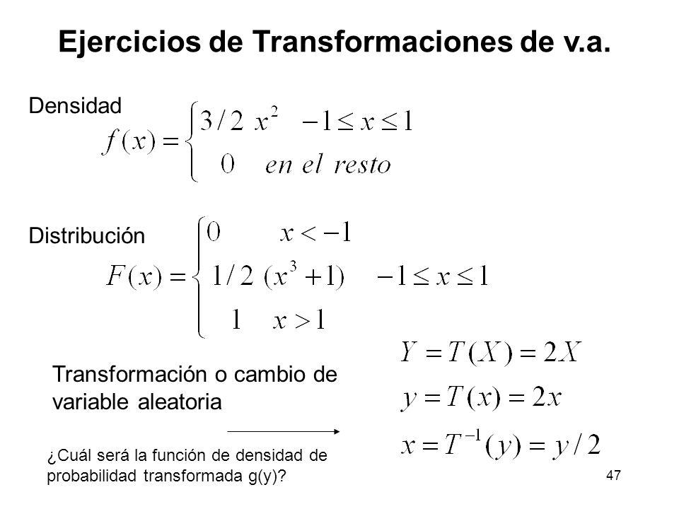 47 Ejercicios de Transformaciones de v.a.