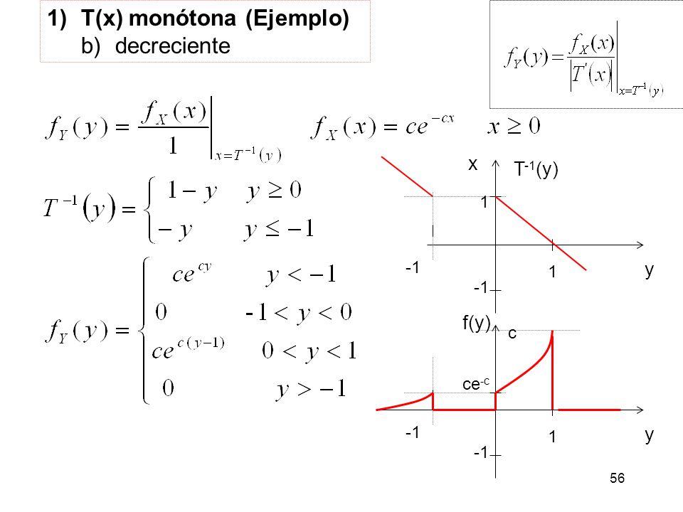 56 1)T(x) monótona (Ejemplo) b)decreciente y 1 c f(y) x y 1 1 T -1 (y) ce -c