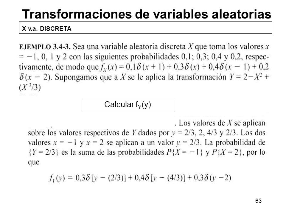 63 Transformaciones de variables aleatorias X v.a. DISCRETA Calcular f Y (y)